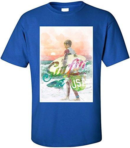 PAPAYANA - SURFING - Herren T-Shirt - BEACH SUNSET LONG LA BLV NY PD Royalblau