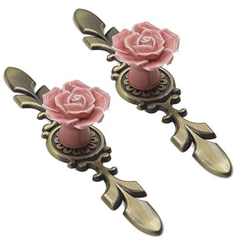 DierCosy Keramik Rose Türgriffe mit Bronze-Basis Vintage rosa Blumen-Knöpfe Griffe Küchenschrank Schubladenschrank Kommode Kommode Kleiderschrank 2ST -