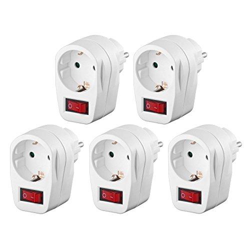 5x Schutzkontaktsteckdose | Steckdosenschalter | schaltbare Steckdose | beleuchteter Schalter | Netzdose mit Schutzkontakt | Sicherheitsschalter | Zwischensteckdose | 5 Stück