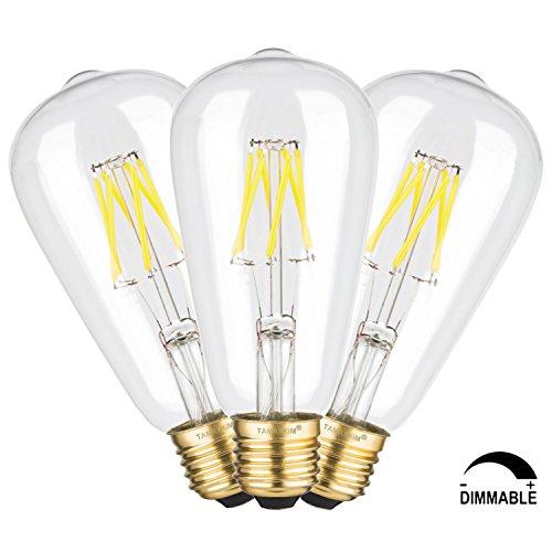 TAMAYKIM ST64 6W Dimmerabile Antico Edison Stile Filamento Lampadina LED - 4000K Bianco Naturale 650 lumen - 6W equivalente a 65W - Attacco E27 - 360° Angolazione Fascio Luce - 3 Pezzi