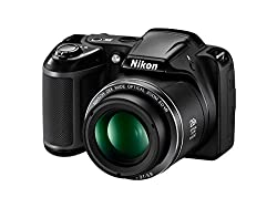 Nikon Coolpix L340 20.2MP Point And Shoot Digital Camera with 28x Optical Zoom, Card and Camera Bag (Black)