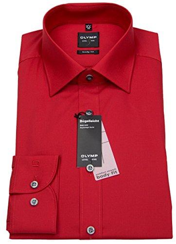Herren Hemd 'Level Five Body Fit' Langarm, rot, Gr. 43 (XL), Kragenweite 17
