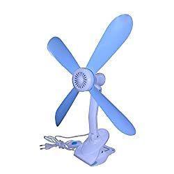 4 Blades Adjustable Clip Fan (Sky Blue & White) K59 By House of Gift