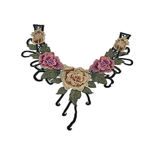 Dentelle écrue Ancienne Fleur Applique Ornement Couture Art Déco Col #7