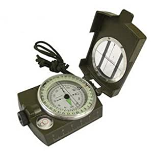 DecentGadget® Portable Military Army Compass Outdoor Camping Exploration Tool with Fluorescent Light (Army Green)