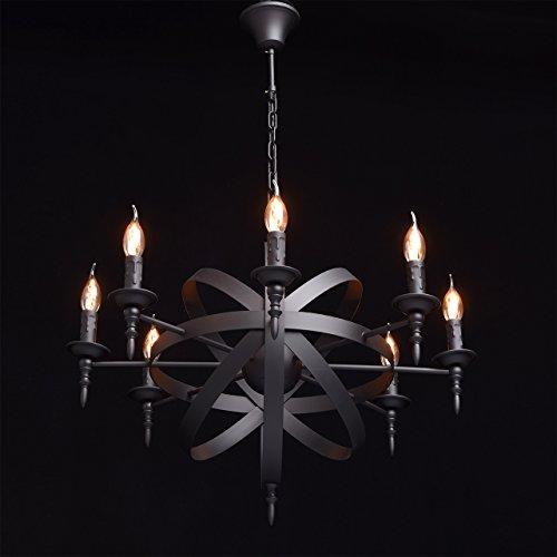 Rustikale Pendelleuchte mittelalterlicher Kronleuchter mit Kerzen 8-flammig Landhausstil - 3