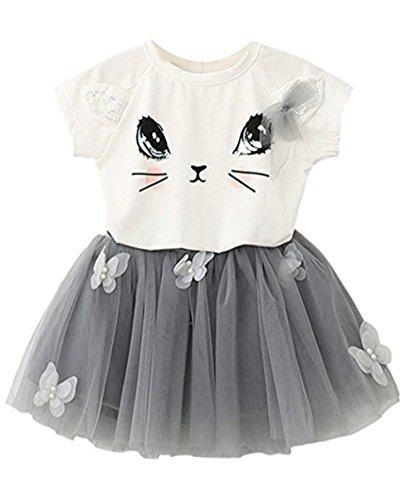 KK Kinder Mädchen Süss Katze Muster Kurzarm Crewneck Shirt Top Schmetterling Tutu Rock Set Kleidung Sommerkleid Minikleid Maedchen Prinzessin Kleid (Weiß, 3T Jahr/ 100CM) ()