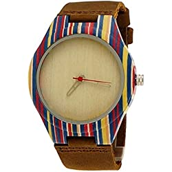 'Pure Time® Designer Colour Wold Ltd Ladies Organic Wood Brown Leather Wrist Watch with Watch Box