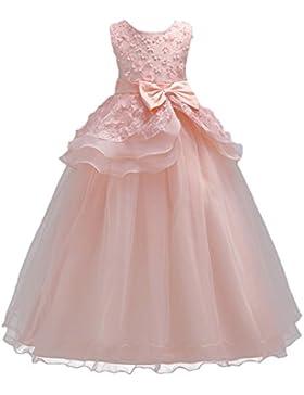 Vestido de niña de flores para la boda Princesa Vestidos de Dama De Honor Fiesta Tul Bowknot Comunión Cumpleaños...