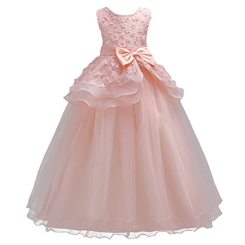 IWEMEK Kids Big Girls Tulle Lace Gauze Flower Bowknot Dress School Communion Ball Gown Dance Pageant Birthday Party Prom Evening Bridesmaid Wedding