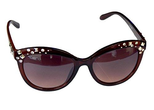 Gil SSC Damenbrille Brille Sonnenbrille mit Strass Metallnieten Damen Sunglasses M 40 (Braun)