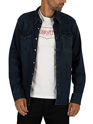 Levi's barstow western camicia in jeans, blu (bruised indigo dark 0325), large uomo