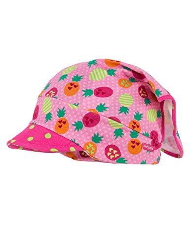 maximo Baby-Mädchen Mütze Kopftuch mit Schild, Mehrfarbig (Geissblatt-Ananas 1), 45 (Herstellergröße: 45/47)