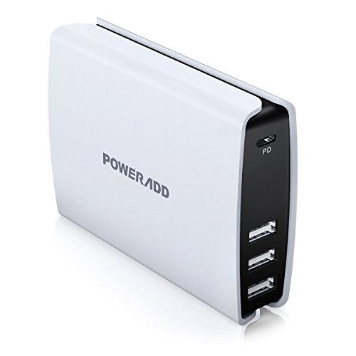 USB-C Charger, Poweradd USB Type C Port +3 Auto Detect Port with Power Delivery Perfect for Apple MacBook, Chromebook Pixel, Galaxy S7 Edge, iPhone 7, 7Plus, iPad and More