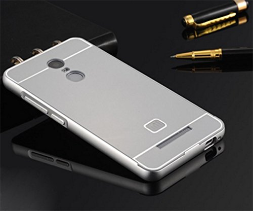 Febelo TM Branded Metal Alloy Bumper Frame Case with Acrylic Back Cover for Xiaomi Redmi Note 3 - Silver Color