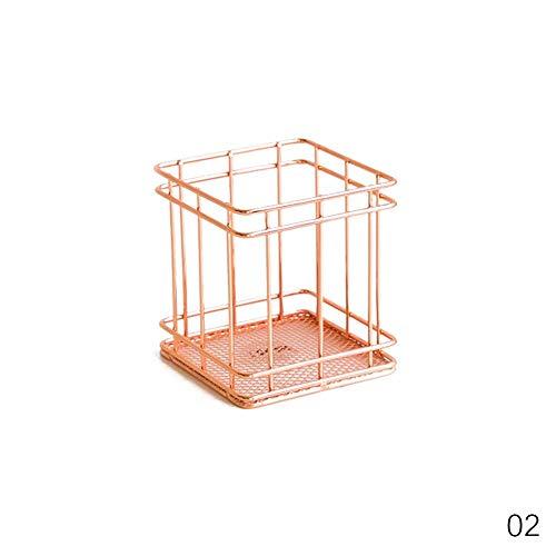 Calistouk Aufbewahrungskorb, rotgoldenes Eisendraht-Netzkorb, langlebig, für Zuhause, Büro, Schreibtisch, Multi, Quadrat