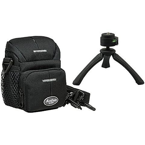 Borsa per fotocamera ACTION BLACK One in Set con treppiedi da viaggio Rollei SY 310per fotografica Panasonic