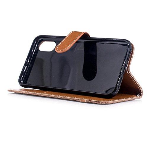Apple iPhone 8 Hülle, SATURCASE Prämie Jeans Stil PU Lederhülle Ledertasche Magnetverschluss Flip Cover Brieftasche Case Handy Tasche Schutzhülle Handyhülle mit Standfunktion Kartenfächer und Handschl Braun
