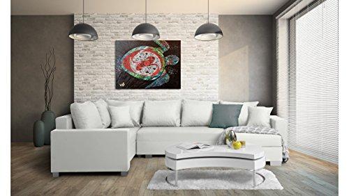 JUSTyou Felisia Canapé d'angle panoramique sofa ensemble de salon Cuir écologique (lxLxH): 145-206x303x86 cm Blanc Angle droit