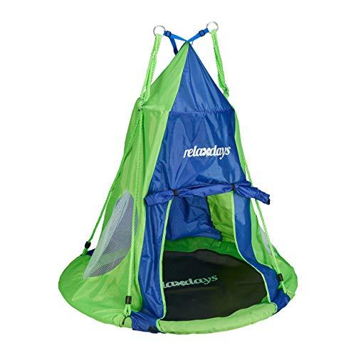 Relaxdays Zelt für Nestschaukel, Bezug für Schaukelsitz bis 110 cm, Rundschaukel Zubehör, Garten Schaukelnest, blau-grün