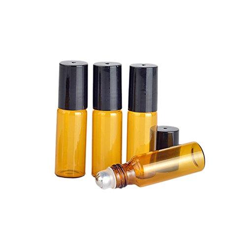 in Glas Roller Flasche leer ätherisches Öl Metall Rollerball Flaschen Behälter Kosmetik Parfüm Lippenpflegestifte Glas auf Rolle Flaschen (5ml) ()