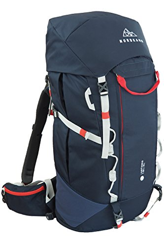 NORDKAMM - Backpacker Rucksack, Trekking-Rucksack, 50l - 60l, blau, Damen u. Herren, Reiserucksack, Top- u. Frontlader, für Weltreise, Camping, Outdoor, Backpacking, verstellbar