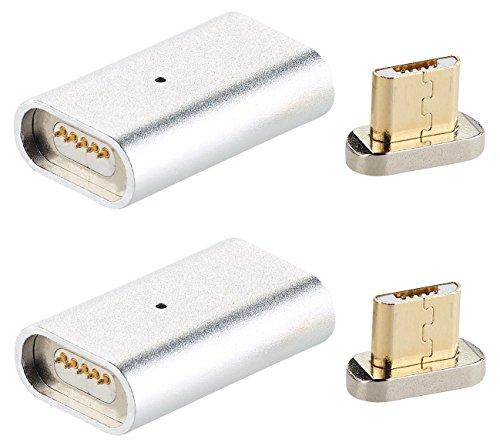 Callstel Magnetisches Ladekabel: Magnetischer Micro-USB-Adapter für Lade- & Datenkabel, Silber, 2er-Set (Ladeadapter magnetisch)