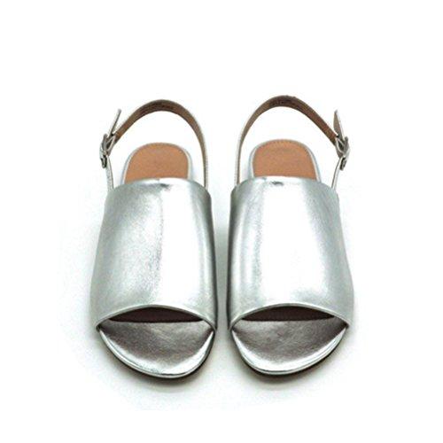Sandales Pour Femmes Qpyc Sandales Roma One Word Buckle Avec Talons Plats Chaussures Pour Femmes Argentées