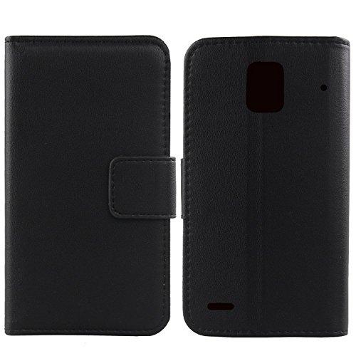 Gukas Design Echt Leder Tasche Für Huawei Ascend P1 U9200 Hülle Handy Flip Brieftasche mit Kartenfächer Schutz Protektiv Genuine Premium Case Cover Etui Skin Shell (Schwarz)