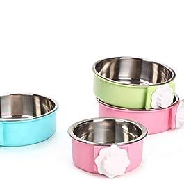 creatspaceE – Ciotola per Cani in Acciaio Inox, con Supporto per bulloni, per Cibo da Appendere, per Gatti, Cuccioli, Uccelli, Colore: Rosa