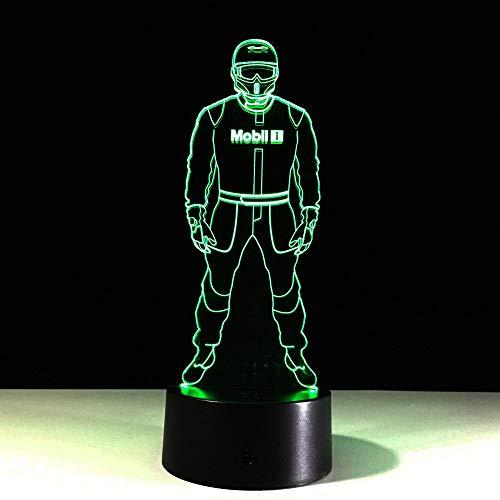 LIkaxyd Polizei 7 Farbe Nachtlicht kann Eidechse 3d LED Tischlampe Cartoon Charakter Kinderbett Kopf gesammelt werden
