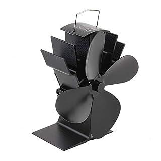 camelliaES Durable 4 Blades Aluminum Black Heat Powered Stove Fan Fuel Saving Stove Fan Eco-Friendly Wood Burner Stove Fan