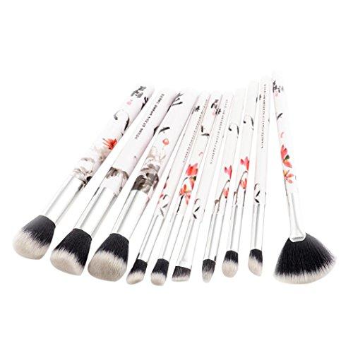 MagiDeal 10pcs Brosse à Maquillage avec Dessin Chinois de Fleur Pinceaux Cosmétiques pour Fondation Blush Contour Correcteur du Visage