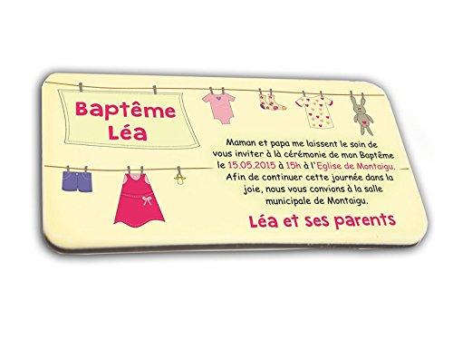 CARTE D'INVITATION en chocolat thème FIL ALINGE FILLE personnalisée avec votre texte - pour baptême mariage communion - invitation en chocolat design et moderne rose et ivoire