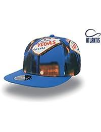 Cappello Cappellino 6 pannelli ATLANTIS SNAP FANTASY stile rap visiera piatta con stampa LAS VEGAS