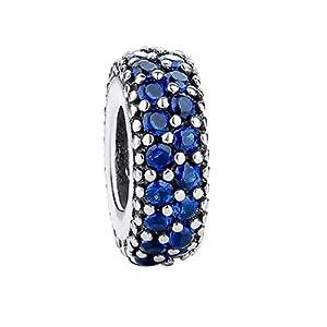 FeatherWish Charm-Anhänger Sterling-Silber 925 blauer Pavé-Fassung für Pandora-Armband
