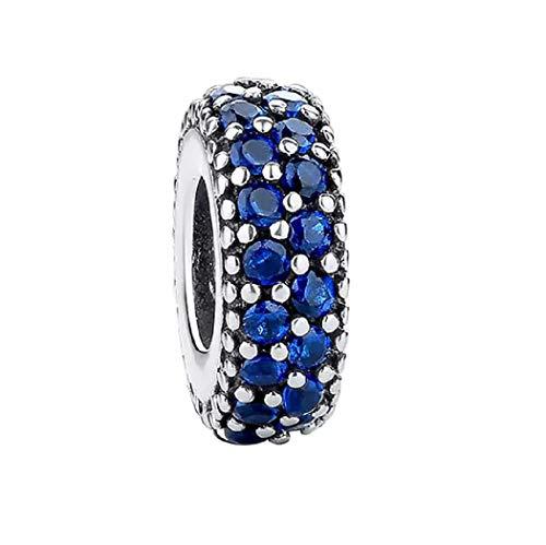 Featherwish argento Sterling 925con pavé di ispirazione Spacer charm blu con zirconi per braccialetti Pandora