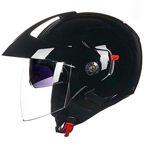 OLEEKA Casco nero opaco per moto open face capacete con doppia visiera per unisex