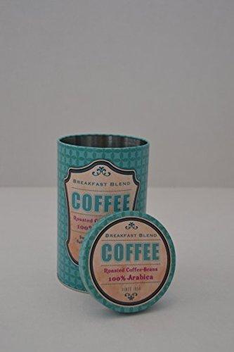 Kaffeedose Metalldose Aufbewahrungsbox Deckel rund 'COFFEE' Metall Print blau