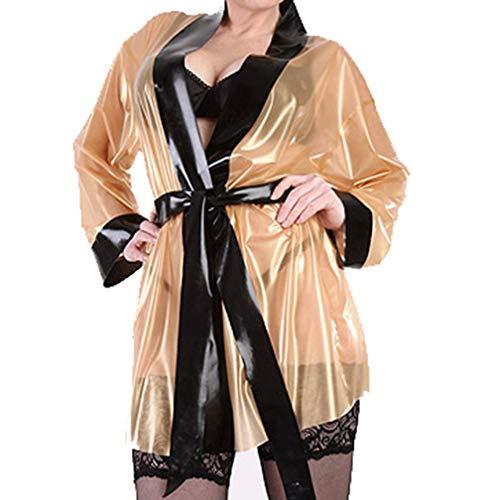 Unisex sexy Transparente und schwarzer Windmantel erotische Nachtwäsche Cosplay Kostüm Clubwear (XXL(B104 W88 H106 cm))