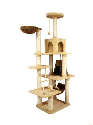 Riesiger Kratzbaum X7805 von ARMARKAT in Farbe Goldrute mit Katzenleiter, Katzenhöhle und...