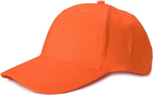 styleBREAKER Klassisches 6 Panel Cap mit gebürsteter Oberfläche (Orange)