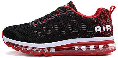 Unisex Uomo Donna Scarpe da Ginnastica Corsa Sportive Fitness Running Sneakers Basse Interior Casual all'Aperto (Nero Rosso,43 EU)