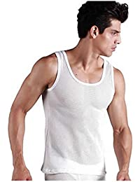 Mens Fitted White Vest 100% Cotton MESH EYELET Singlet Muscle Gym Tank Top PACK OF 2 or 4