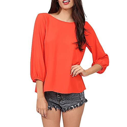 YOcolour Damen Einfarbig Hinter Quaste Bow Top Rundhalsausschnitt Hülsen Bogen Beiläufiges Büro Lose Bluse Große Größen Oberseite Reizvolle Rückenfrei Bloues (orange,L6) -