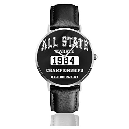 Unisex Business Casual All State Karate Championships Uhren Quarz Leder Uhr mit schwarzem Lederband für Männer Frauen Young Collection Geschenk
