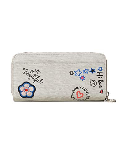 Desigual Wallet Shibuya Two Levels Women - Portafogli Donna, Grigio (Gris Fresh), 4x10.5x19.5 cm (B x H T)