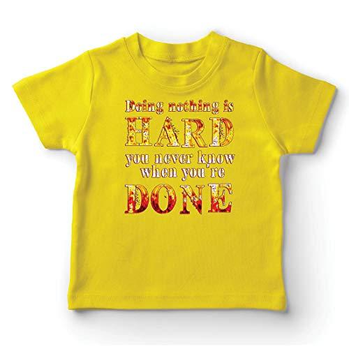 lepni.me Kinder Jungen/Mädchen T-Shirt Nichts zu tun ist schwer, lustiges Zitat, faules Sprechen. (7-8 Years Gelb Mehrfarben) (Mutter Natur Kostüm Muster)