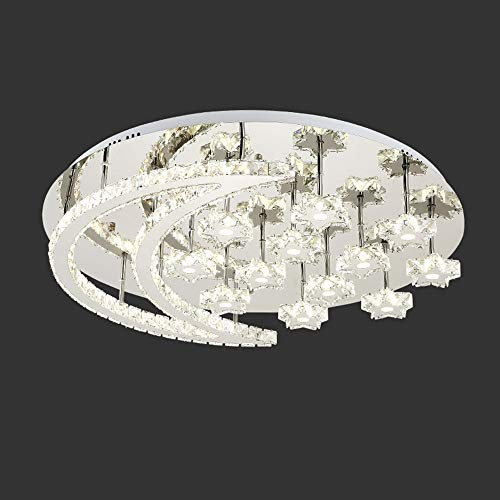Silber Drei Licht-eitelkeit (RJJ LED Silber Kristall Sterne Mond Deckenleuchte 3 Farben Weiß Natürliches Warmes Licht Edelstahl Kronleuchter Villa Hotel Esszimmer Wohnzimmer Schlafzimmer Luxus Warm)