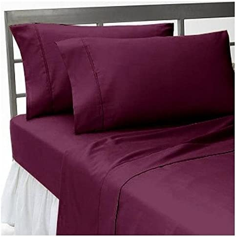 Dreamz Lenzuola Super Morbido 350 Thread Count Elegante Finitura con Wine Angoli (Profonda Tasca  38,1 cm) Single Long, Wine con Solid, 350TC 100% Cotone Extra Tasca Profonda Lenzuolo sotto 54c104